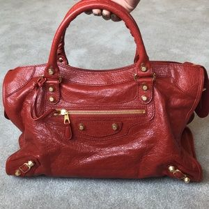 MINT CONDITION Balenciaga Giant City Bag Red w/GHW